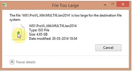 lỗi copy file too large