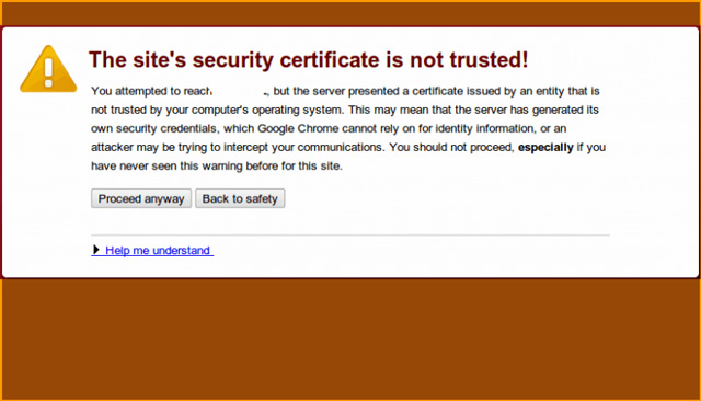 Lỗi The sites security certificate is not trusted