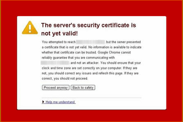 Lỗi The server's certificate security is not yet valid