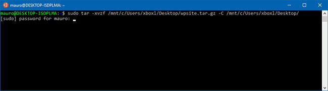 Giải nén tarball .tar.gz, .tgz hoặc .gz bằng tar trong Linux trên Windows 10